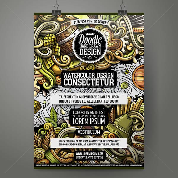 Cartoon hand drawn doodles Beer fest poster design Stock photo © balabolka