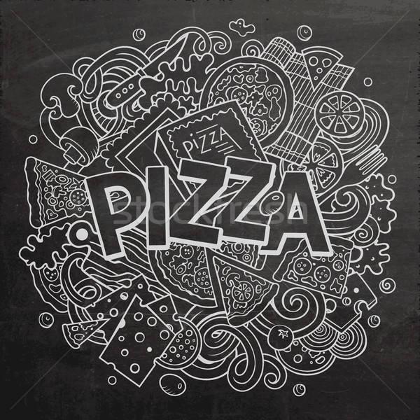 Cartoon cute doodles Pizza word Stock photo © balabolka