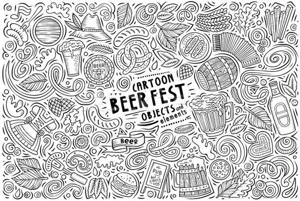 Vector doodle cartoon set of Beer fest objects Stock photo © balabolka