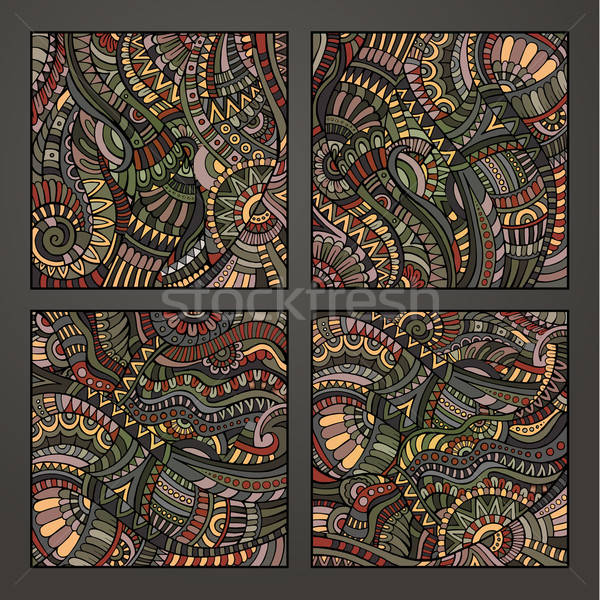 Decorative ornamental pattern set Stock photo © balabolka