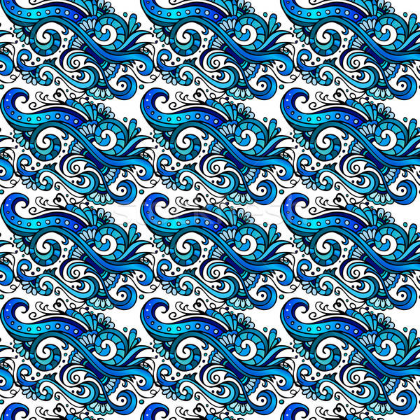 Decorative vector blue flower pattern Stock photo © balabolka