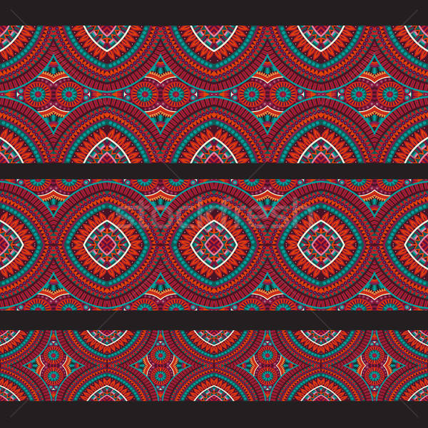 Abstract vector red ornamental ethnic seamless stripes. design e Stock photo © balabolka