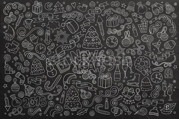 Chalkboard vector hand drawn Doodle set of New Year objects Stock photo © balabolka