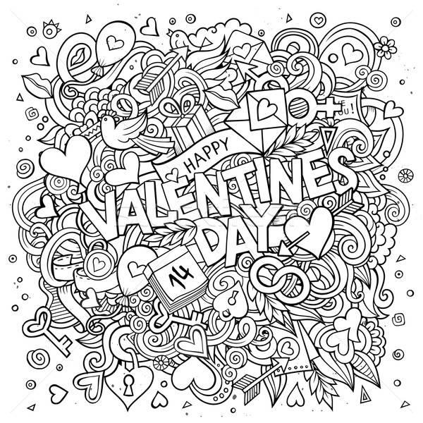 Stockfoto: Cartoon · vector · doodle · gelukkig · valentijnsdag