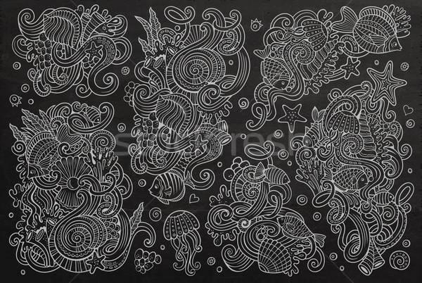 Chalkboard set of marine life objects Stock photo © balabolka