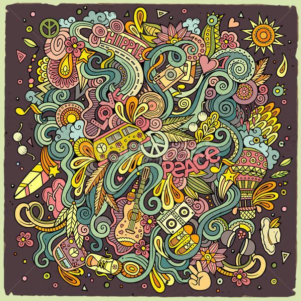 Cartoon хиппи иллюстрация красочный подробный Сток-фото © balabolka