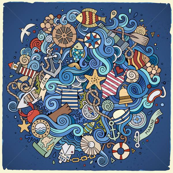 Rajz firkák tengerészeti tengeri illusztráció színes Stock fotó © balabolka