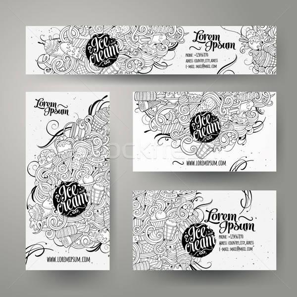 Corporate Identity templates set doodles ice cream theme. Stock photo © balabolka
