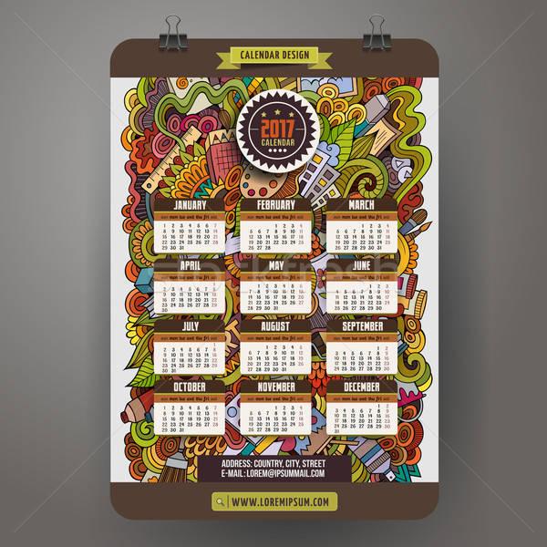 Cartoon scarabocchi arte anno calendario modello Foto d'archivio © balabolka