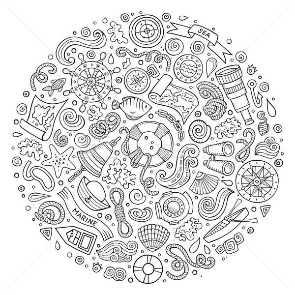 набор морской морской Cartoon объекты линия Сток-фото © balabolka