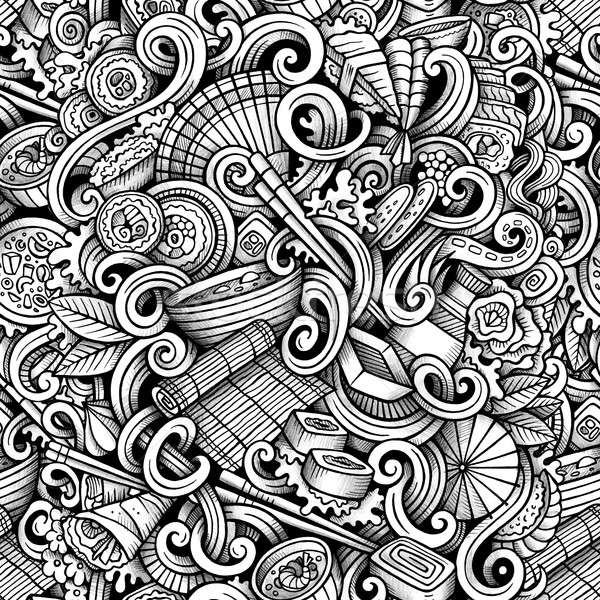 Cartoon hand drawn japanese food doodles seamless pattern Stock photo © balabolka