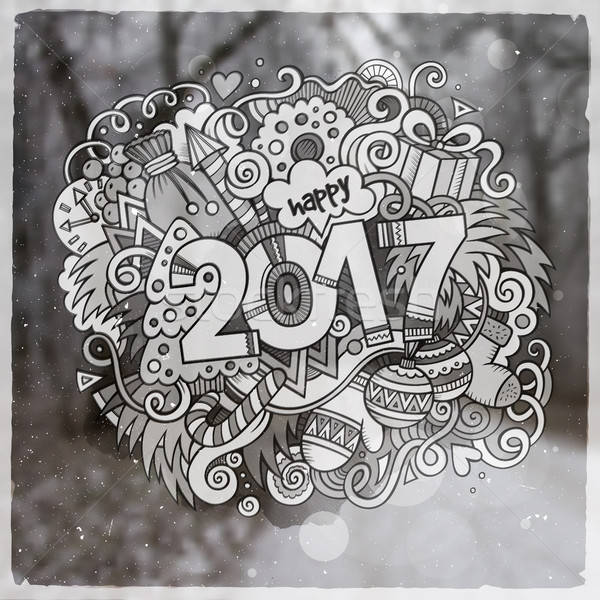 2017 year hand lettering and doodles elements vector illustration Stock photo © balabolka