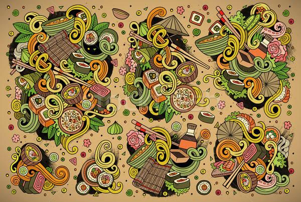 вектора Cartoon набор Япония продовольствие объекты Сток-фото © balabolka