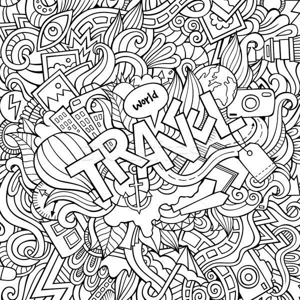 Cartoon cute doodles hand drawn Travel illustration Stock photo © balabolka