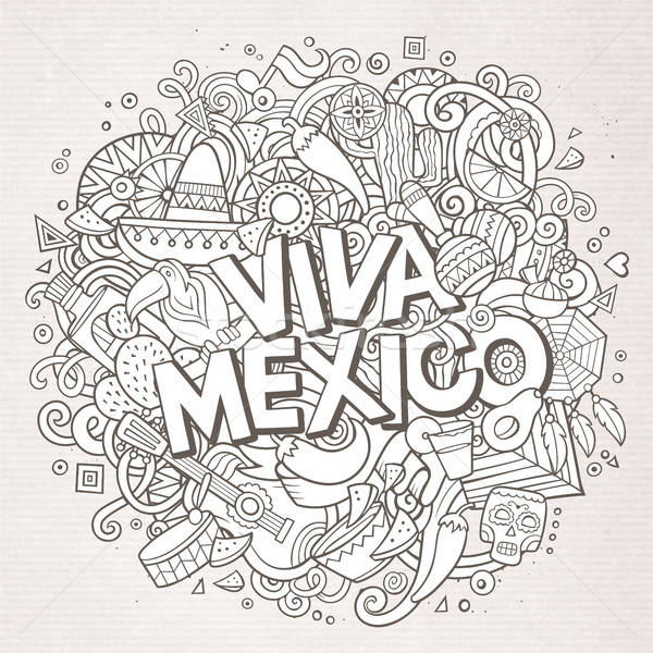 Stock photo: Viva Mexico sketchy outline festive background