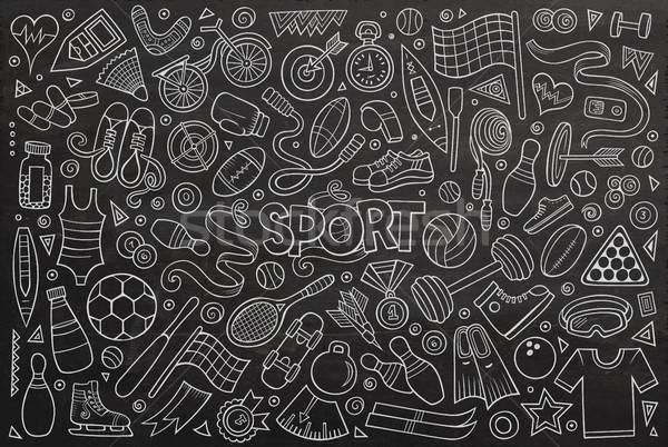 Firka rajz szett sport tárgyak szimbólumok Stock fotó © balabolka