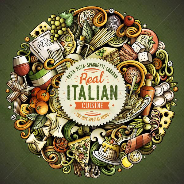 Cartoon vettore scarabocchi cucina italiana illustrazione colorato Foto d'archivio © balabolka