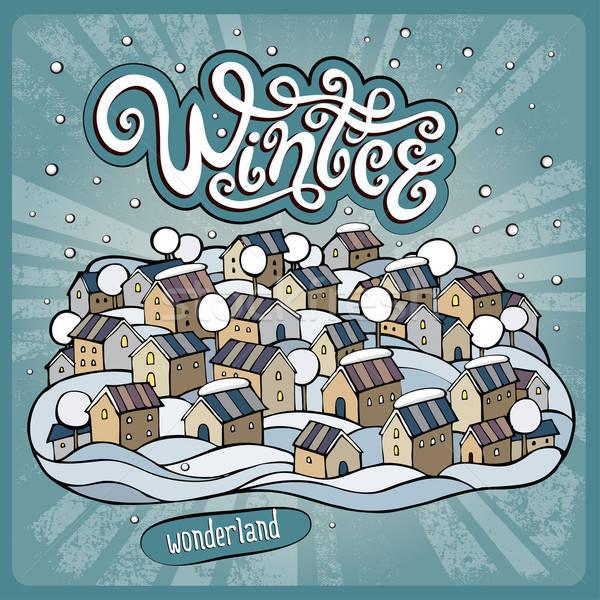 Vector cartoon winter fairytale town Stock photo © balabolka