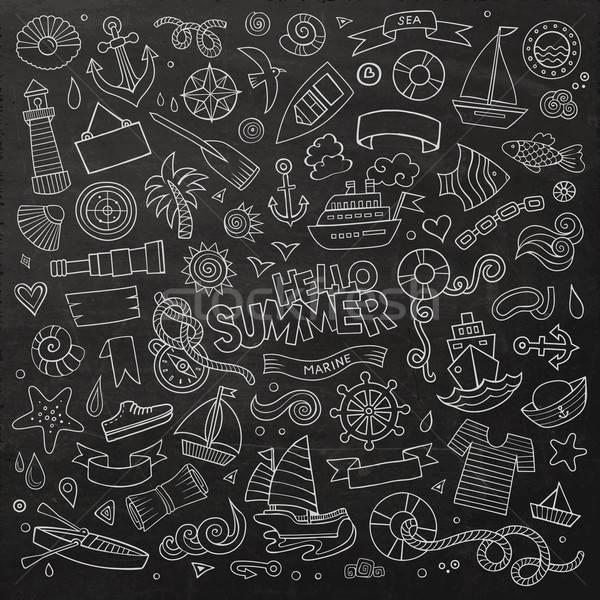 Tengeri tengerészeti tábla kézzel rajzolt vektor szimbólumok Stock fotó © balabolka