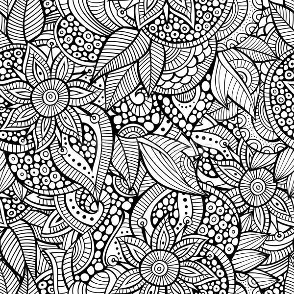 Sketchy doodles decorative floral ornamental seamless pattern Stock photo © balabolka