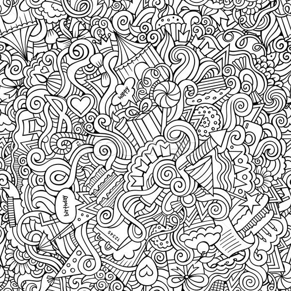 Stock photo: doodles hand drawn holiday seamless pattern