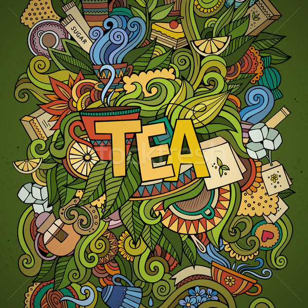 Stock photo: Tea hand lettering and doodles elements background.