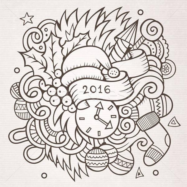 2016 új év firkák elemek vektor vázlatos Stock fotó © balabolka