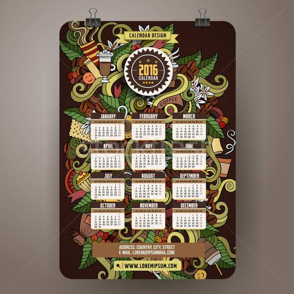 Doodles hand drawn colorful cartoon coffee time Calendar 2016 Stock photo © balabolka