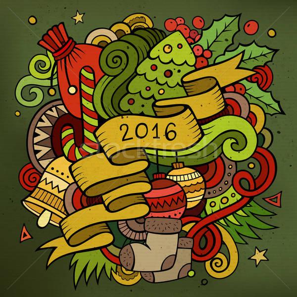 2016 yılbaşı karalamalar elemanları vektör renkli Stok fotoğraf © balabolka