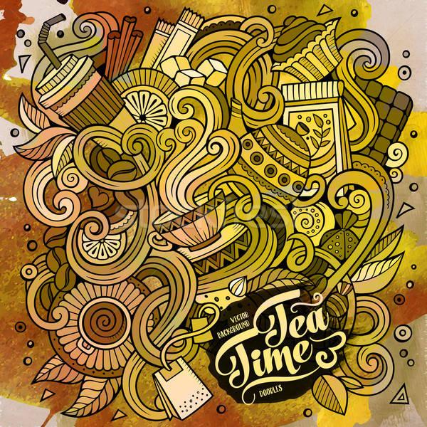 漫畫 塗鴉 咖啡館 咖啡館 手工繪製 插圖 商業照片 © balabolka