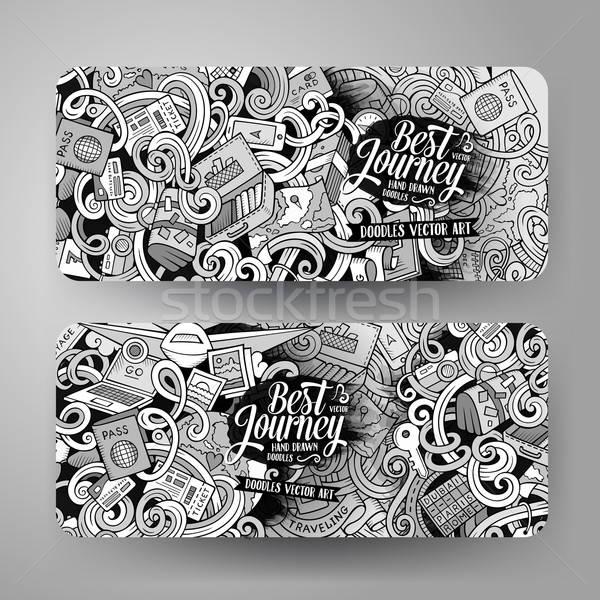 Cartoon vector hand drawn doodles travel banners Stock photo © balabolka