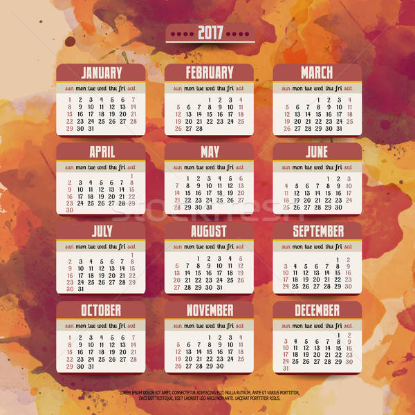 Cartoon hand drawn doodles 2017 year calendar Stock photo © balabolka