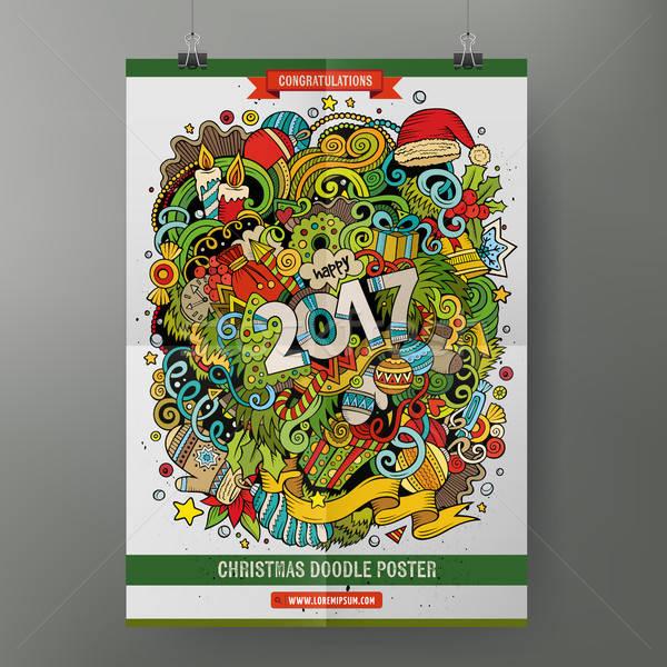 Cartoon doodles 2017 Year poster Stock photo © balabolka