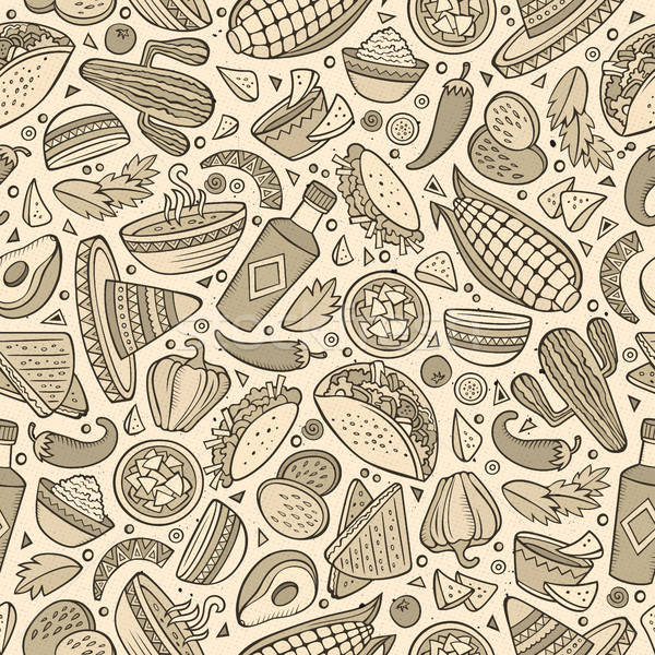 Stock photo: Cartoon cute hand drawn Mexican food seamless pattern.