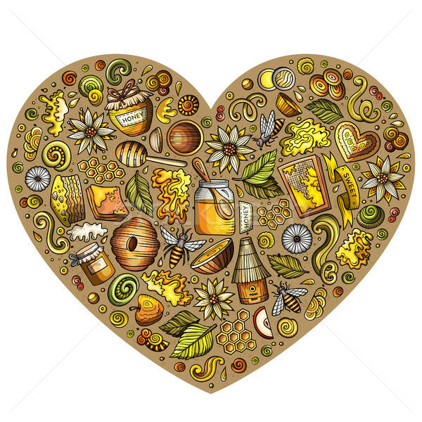 Colorful vector set of Honey cartoon doodle objects Stock photo © balabolka