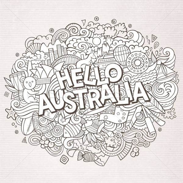 Cartoon cute doodles hand drawn Hello Australia inscription Stock photo © balabolka