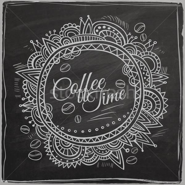 Coffee time decorative border Stock photo © balabolka
