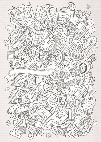Cartoon vector sketchy  art and craft background Stock photo © balabolka