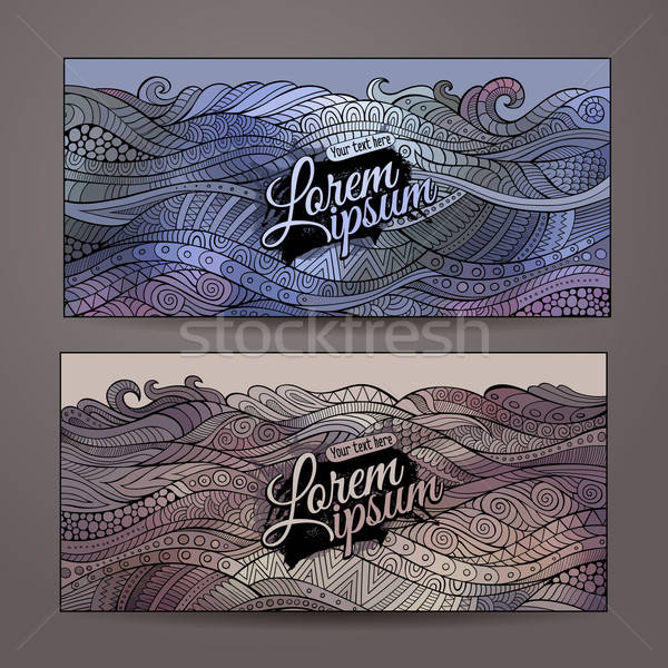 Stock photo: Abstract vector decorative waves ornamental backgrounds.