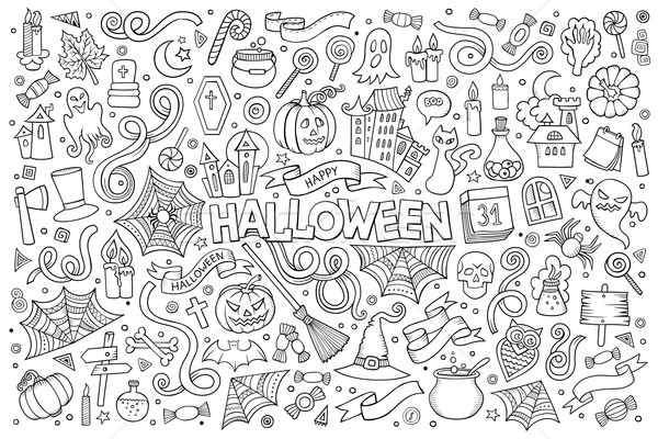 Sketchy vector hand drawn Doodle cartoon set of objects and symb Stock photo © balabolka