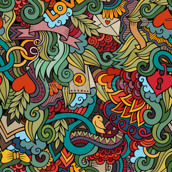 Stock photo: Doodles Love vector seamless pattern