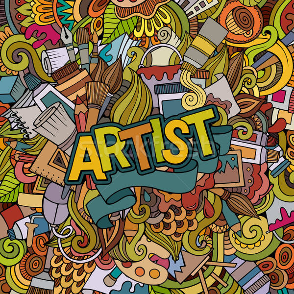 Artist hand lettering and doodles elements emblem Stock photo © balabolka