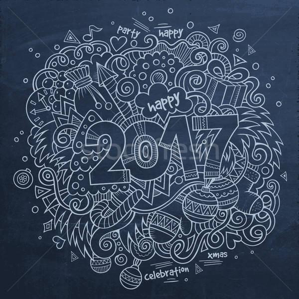 Karikatür sevimli karalamalar yıl örnek Stok fotoğraf © balabolka