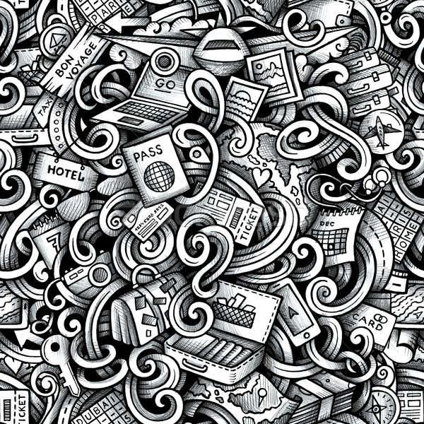 Rajz firkák utazás évszak végtelen minta grafika Stock fotó © balabolka