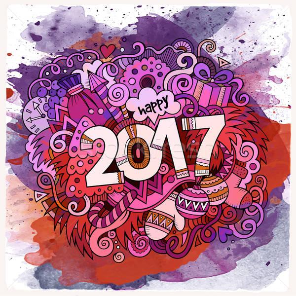 Cartoon cute doodles hand drawn New Year illustration Stock photo © balabolka