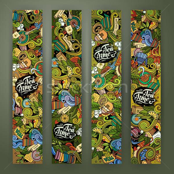 Rajz vonal művészet firkák tea bannerek Stock fotó © balabolka