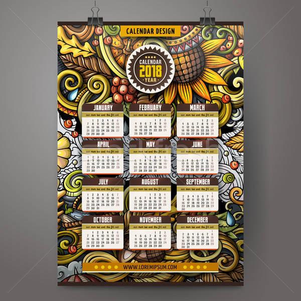 Cartoon doodles Autumn 2018 year calendar template. English, Sunday start Stock photo © balabolka