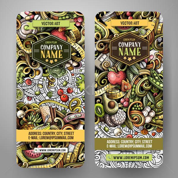 Cartoon cute colorful vector hand drawn doodles Diet food vertical banners Stock photo © balabolka