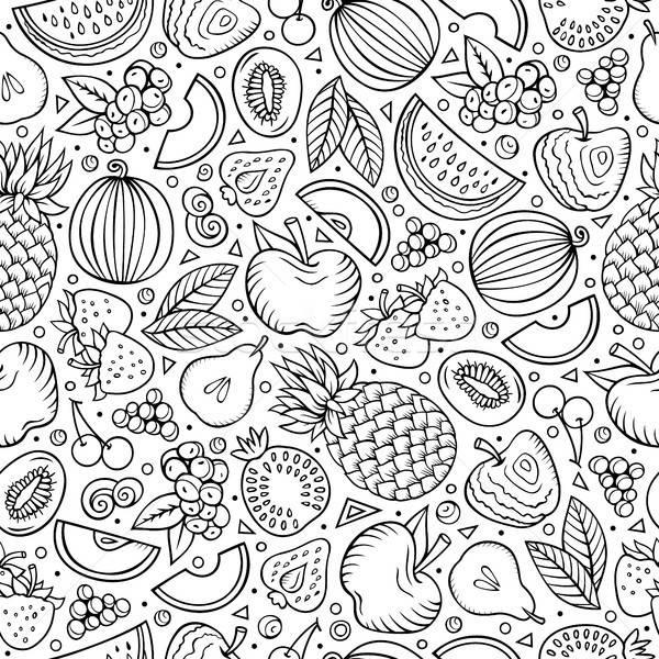 Cartoon hand-drawn Diet food seamless pattern Stock photo © balabolka