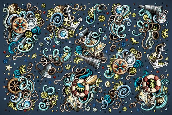 Set of marine, nautical objects and symbols Stock photo © balabolka